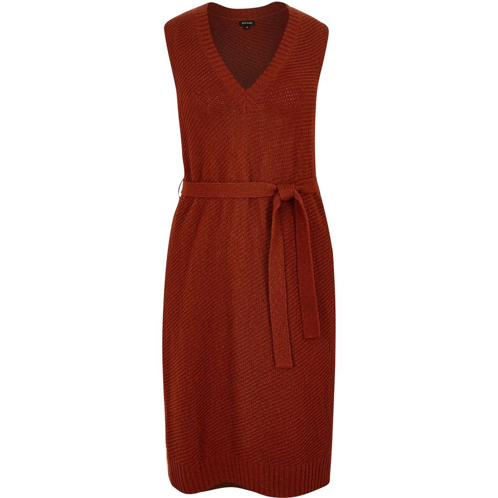 Womens Ri Plus Rust Brown Knit Tabard - neckline: v-neck; pattern: plain; sleeve style: sleeveless; style: tunic; waist detail: belted waist/tie at waist/drawstring; predominant colour: true red; occasions: casual; fibres: cotton - mix; fit: body skimming; length: mid thigh; sleeve length: sleeveless; texture group: knits/crochet; pattern type: fabric; season: s/s 2016