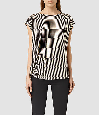 Moon Bar Tee - sleeve style: capped; pattern: horizontal stripes; style: t-shirt; secondary colour: white; predominant colour: black; occasions: casual; length: standard; fibres: cotton - mix; fit: body skimming; neckline: crew; sleeve length: short sleeve; pattern type: fabric; texture group: jersey - stretchy/drapey; multicoloured: multicoloured; season: s/s 2016; wardrobe: basic