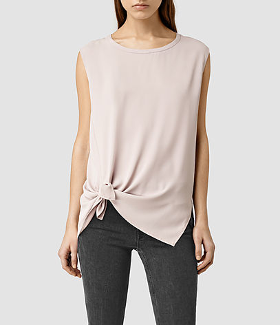 Heny Top - pattern: plain; sleeve style: sleeveless; predominant colour: blush; occasions: casual; length: standard; style: top; fibres: polyester/polyamide - 100%; fit: straight cut; neckline: crew; sleeve length: sleeveless; hip detail: ruffles/tiers/tie detail at hip; pattern type: fabric; texture group: other - light to midweight; season: s/s 2016; wardrobe: highlight