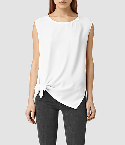 Heny Top - neckline: round neck; pattern: plain; sleeve style: sleeveless; waist detail: flattering waist detail; predominant colour: white; occasions: casual; length: standard; style: top; fibres: polyester/polyamide - 100%; fit: body skimming; hip detail: adds bulk at the hips; sleeve length: sleeveless; pattern type: fabric; texture group: other - light to midweight; season: s/s 2016; wardrobe: highlight