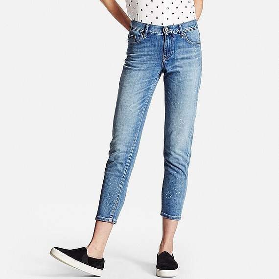 Women Slim Boyfriend Fit Ankle Jeans (34 Inch) Blue - style: boyfriend; pattern: plain; pocket detail: traditional 5 pocket; waist: mid/regular rise; predominant colour: denim; occasions: casual; length: calf length; fibres: cotton - stretch; jeans detail: shading down centre of thigh; texture group: denim; pattern type: fabric; season: s/s 2016