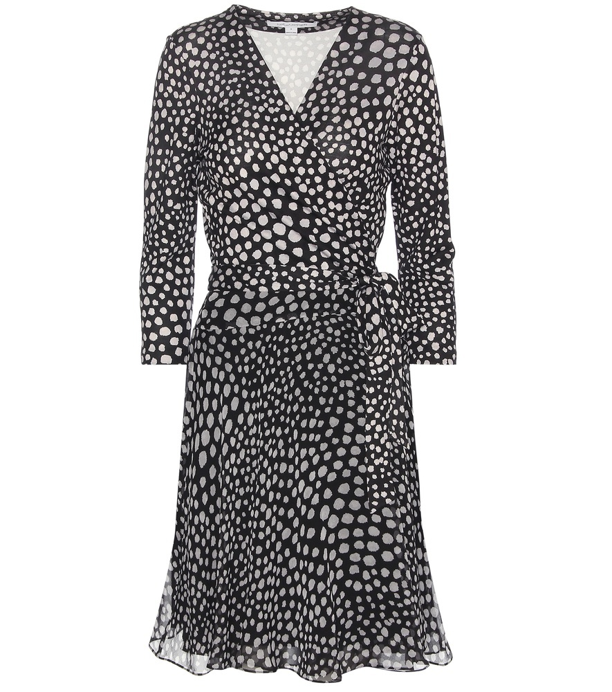 Irina Printed Silk Wrap Dress - style: faux wrap/wrap; neckline: v-neck; waist detail: belted waist/tie at waist/drawstring; secondary colour: light grey; predominant colour: black; occasions: evening; length: on the knee; fit: body skimming; fibres: silk - 100%; sleeve length: 3/4 length; sleeve style: standard; texture group: sheer fabrics/chiffon/organza etc.; pattern type: fabric; pattern: patterned/print; multicoloured: multicoloured; season: s/s 2016; wardrobe: event