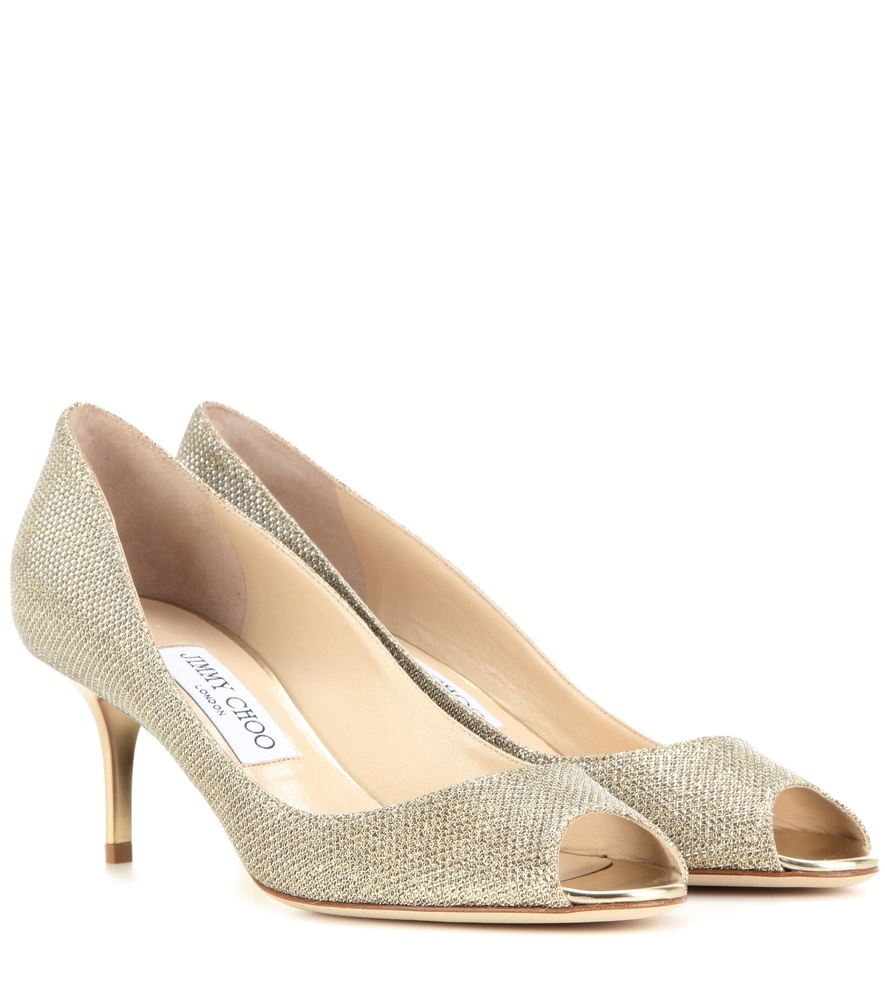 Isabel Glitter Fabric Peep Toe Pumps - predominant colour: champagne; occasions: evening; material: leather; heel height: high; embellishment: glitter; heel: stiletto; toe: open toe/peeptoe; style: courts; finish: metallic; pattern: plain; season: s/s 2016; wardrobe: event