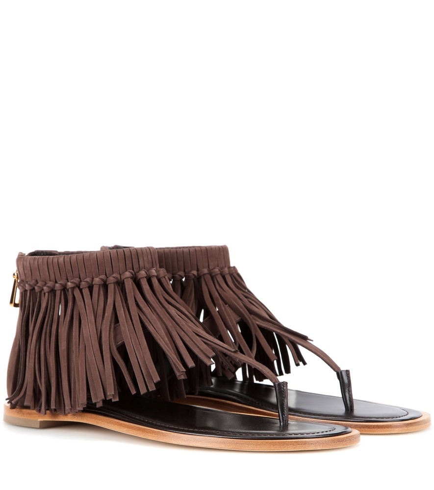 Fringed Suede Sandals - predominant colour: chocolate brown; secondary colour: black; material: suede; heel height: flat; ankle detail: ankle strap; heel: block; toe: toe thongs; style: flip flops; occasions: holiday; finish: plain; pattern: plain; embellishment: fringing; season: s/s 2016; wardrobe: highlight