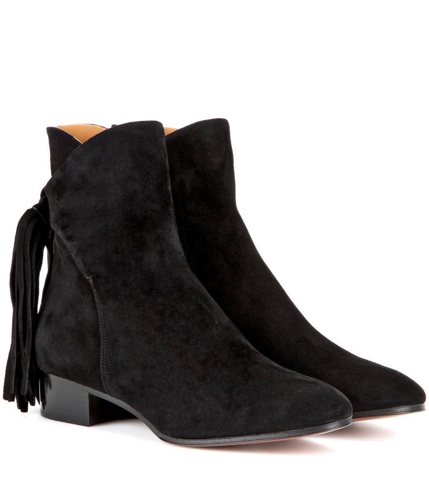 Fringed Suede Ankle Boots - predominant colour: black; occasions: casual, creative work; material: suede; heel height: mid; heel: block; toe: round toe; boot length: ankle boot; style: standard; finish: plain; pattern: plain; embellishment: fringing; season: s/s 2016; wardrobe: highlight