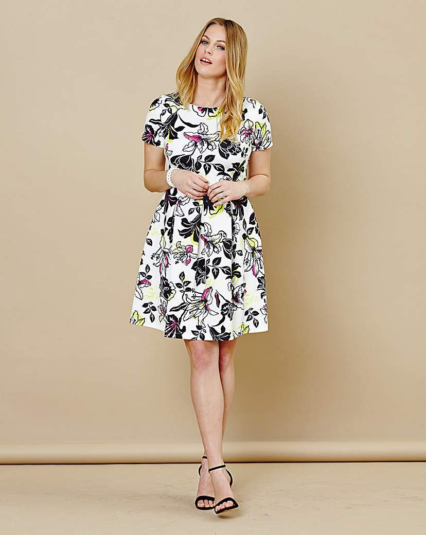 Floral Scuba Short Sleeve Skater Dress - predominant colour: white; secondary colour: charcoal; occasions: casual; length: on the knee; fit: fitted at waist & bust; style: fit & flare; fibres: polyester/polyamide - stretch; neckline: crew; sleeve length: short sleeve; sleeve style: standard; pattern type: fabric; pattern: florals; texture group: jersey - stretchy/drapey; multicoloured: multicoloured; season: s/s 2016; wardrobe: highlight