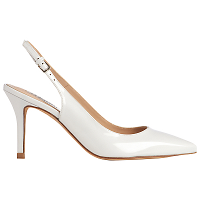 Florrie Slingback Court Shoes - predominant colour: white; occasions: evening, occasion; material: leather; heel height: high; heel: stiletto; toe: pointed toe; style: slingbacks; finish: patent; pattern: plain; season: s/s 2016; wardrobe: event