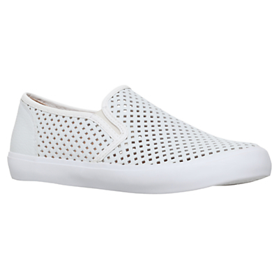 Laila Slip On Trainers - predominant colour: white; occasions: casual; material: faux leather; heel height: flat; toe: round toe; finish: metallic; pattern: plain; shoe detail: moulded soul; style: skate shoes; season: s/s 2016; wardrobe: highlight