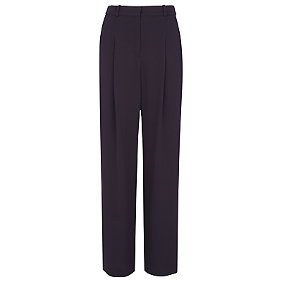 Soft Crepe Trousers, Navy - length: standard; pattern: plain; waist: high rise; predominant colour: navy; occasions: work; fibres: viscose/rayon - 100%; hip detail: subtle/flattering hip detail; waist detail: feature waist detail; texture group: crepes; fit: wide leg; pattern type: fabric; style: standard; season: s/s 2016; wardrobe: basic