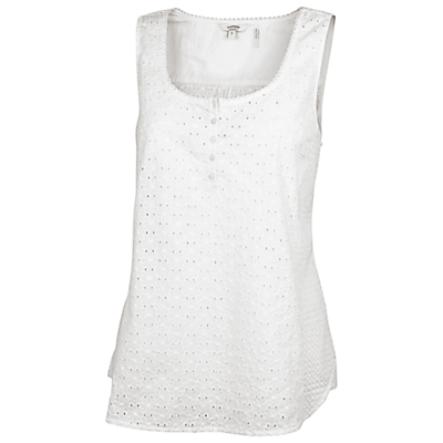Cara Broderie Camisole Top, White - sleeve style: standard vest straps/shoulder straps; pattern: plain; style: vest top; predominant colour: white; occasions: casual, holiday; length: standard; neckline: scoop; fibres: cotton - 100%; fit: straight cut; sleeve length: sleeveless; pattern type: fabric; embellishment: embroidered; texture group: broiderie anglais; season: s/s 2016; wardrobe: highlight; embellishment location: bust