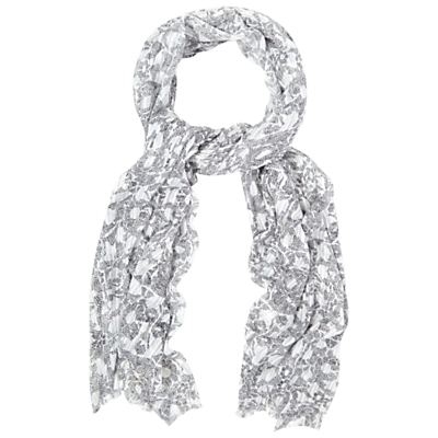 Mark Maker Floral Scarf, Blue - secondary colour: white; predominant colour: light grey; occasions: casual, creative work; type of pattern: light; style: regular; size: standard; material: fabric; pattern: florals; season: s/s 2016; wardrobe: highlight