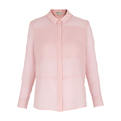 Panelled Voile Shirt, Pale Pink - neckline: shirt collar/peter pan/zip with opening; pattern: plain; style: shirt; predominant colour: blush; occasions: casual; length: standard; fibres: cotton - 100%; fit: body skimming; sleeve length: long sleeve; sleeve style: standard; texture group: crepes; pattern type: fabric; season: s/s 2016