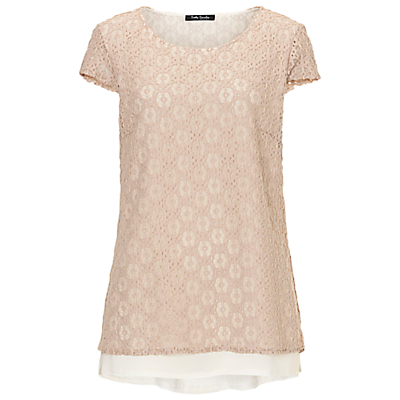 Lace Layered Top, Beige/Cream - neckline: round neck; predominant colour: blush; occasions: casual; length: standard; style: top; fibres: cotton - mix; fit: body skimming; sleeve length: short sleeve; sleeve style: standard; texture group: lace; pattern type: fabric; pattern size: standard; pattern: patterned/print; season: s/s 2016; wardrobe: highlight