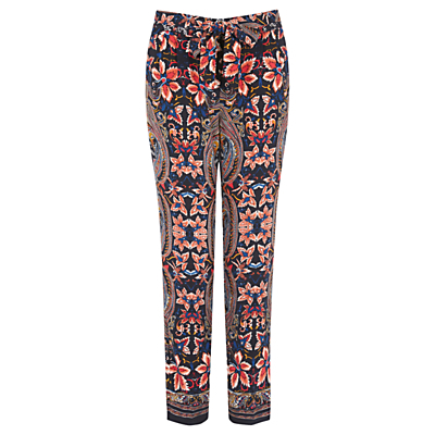 Paisley Print Peg Trousers, Multi - length: standard; style: peg leg; pattern: paisley; waist: mid/regular rise; secondary colour: coral; predominant colour: black; occasions: casual, creative work; fibres: polyester/polyamide - stretch; fit: tapered; pattern type: fabric; texture group: woven light midweight; multicoloured: multicoloured; season: s/s 2016; wardrobe: highlight