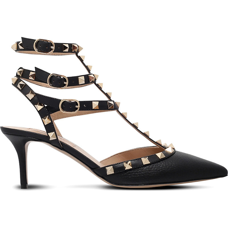 Rockstud 65 Leather Courts, Women's, Eur 37.5 / 4.5 Uk Women, Black - secondary colour: gold; predominant colour: black; material: leather; heel height: mid; embellishment: studs; heel: stiletto; toe: pointed toe; style: courts; finish: plain; pattern: plain; occasions: creative work; season: s/s 2016; wardrobe: highlight