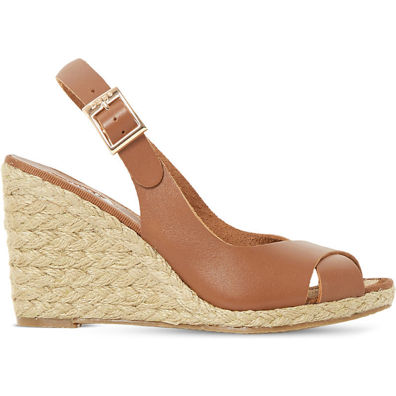 Kia Leather Wedge Sandals, Women's, Eur 41 / 8 Uk Women, Tan/Brown - predominant colour: camel; occasions: casual, holiday; material: leather; heel height: high; heel: wedge; toe: open toe/peeptoe; style: strappy; finish: plain; pattern: plain; season: s/s 2016; wardrobe: investment
