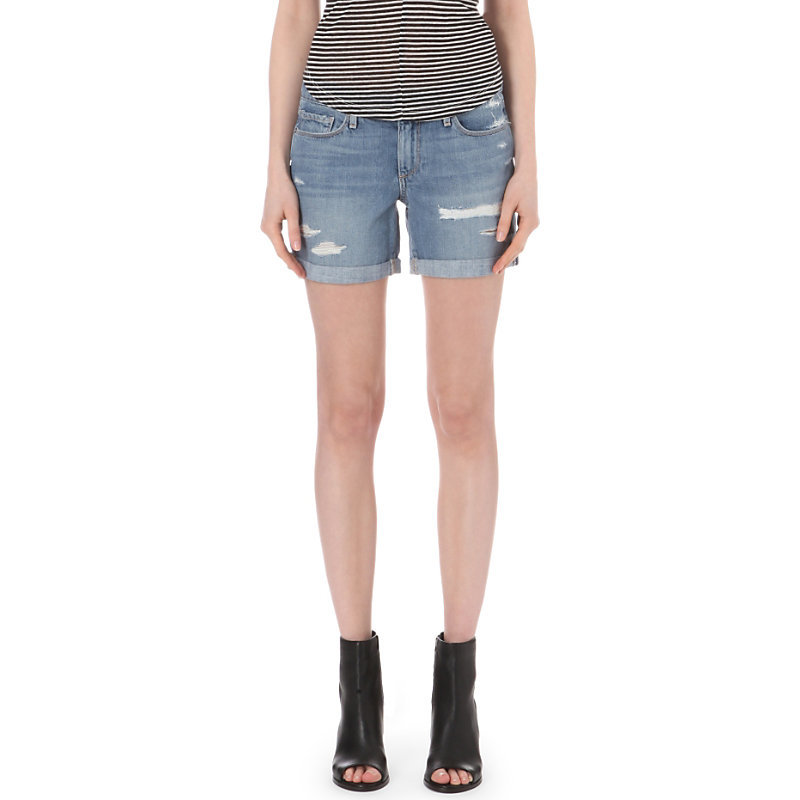 Grant Denim Shorts, Women's, Huxley Destructed - pattern: plain; pocket detail: traditional 5 pocket; waist: mid/regular rise; predominant colour: denim; occasions: casual; fibres: cotton - stretch; texture group: denim; pattern type: fabric; season: s/s 2016; style: denim; length: short shorts; fit: slim leg; wardrobe: highlight