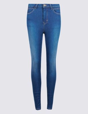 Roma Rise Sculpt & Lift Super Skinny Jeans - style: skinny leg; length: standard; pattern: plain; pocket detail: traditional 5 pocket; waist: mid/regular rise; predominant colour: navy; occasions: casual; fibres: cotton - stretch; texture group: denim; pattern type: fabric; season: s/s 2016; wardrobe: basic