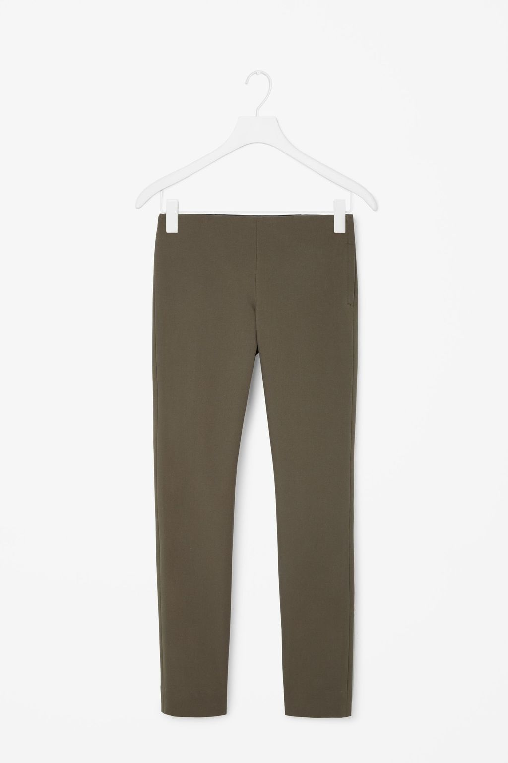 Slim Fit Trousers - length: standard; pattern: plain; waist: mid/regular rise; predominant colour: khaki; occasions: casual, holiday; fibres: cotton - stretch; fit: slim leg; pattern type: fabric; texture group: woven light midweight; style: standard; season: s/s 2016; wardrobe: basic