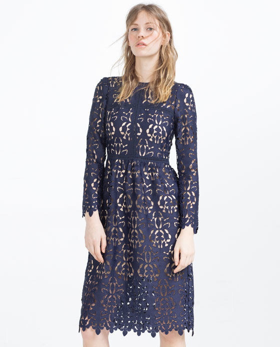 Lace Dress - style: shift; pattern: plain; predominant colour: navy; occasions: evening; length: on the knee; fit: body skimming; fibres: polyester/polyamide - 100%; neckline: crew; sleeve length: long sleeve; sleeve style: standard; texture group: lace; pattern type: fabric; pattern size: standard; season: s/s 2016; wardrobe: event