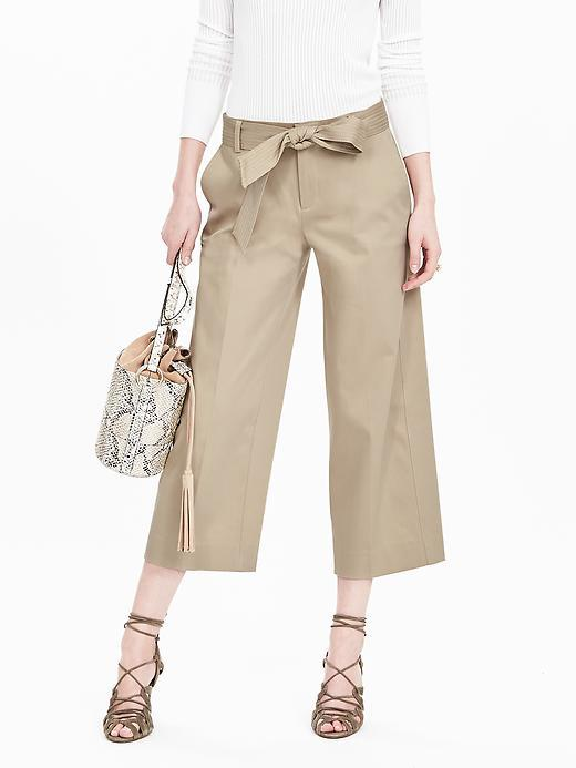 Belted Wide Leg Crop Pant Natural Stone - pattern: plain; waist: high rise; waist detail: belted waist/tie at waist/drawstring; predominant colour: stone; occasions: casual, creative work; length: calf length; fibres: cotton - mix; texture group: cotton feel fabrics; fit: wide leg; pattern type: fabric; style: standard; season: s/s 2016; wardrobe: basic
