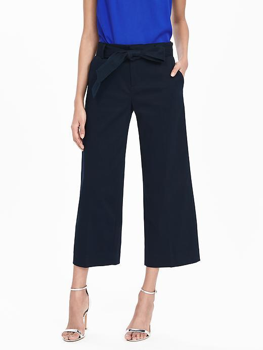 Belted Wide Leg Crop Pant Preppy Navy - pattern: plain; waist: high rise; waist detail: belted waist/tie at waist/drawstring; predominant colour: navy; occasions: casual, creative work; length: calf length; fibres: cotton - mix; texture group: cotton feel fabrics; fit: wide leg; pattern type: fabric; style: standard; season: s/s 2016; wardrobe: basic