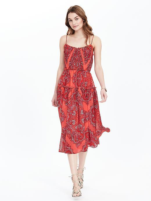 Paisley Strappy Midi Dress Fire Coral - length: calf length; sleeve style: spaghetti straps; style: sundress; pattern: paisley; predominant colour: coral; occasions: evening; fit: body skimming; neckline: scoop; fibres: polyester/polyamide - 100%; sleeve length: sleeveless; texture group: sheer fabrics/chiffon/organza etc.; pattern type: fabric; season: s/s 2016