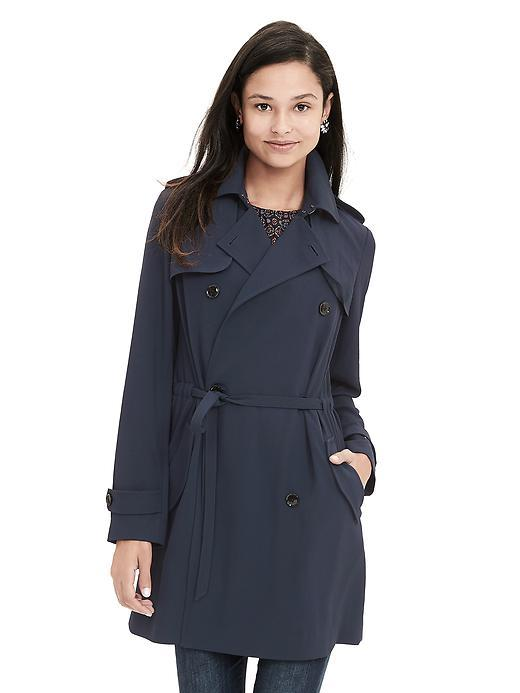 Drapey Trench Preppy Navy - pattern: plain; style: trench coat; fit: slim fit; collar: standard lapel/rever collar; length: mid thigh; predominant colour: navy; occasions: casual; fibres: viscose/rayon - 100%; waist detail: belted waist/tie at waist/drawstring; sleeve length: long sleeve; sleeve style: standard; texture group: technical outdoor fabrics; collar break: medium; pattern type: fabric; season: s/s 2016; wardrobe: basic