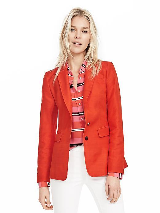 Coral Silk Blend Blazer Coral - pattern: plain; style: single breasted blazer; collar: standard lapel/rever collar; predominant colour: coral; occasions: casual, creative work; length: standard; fit: tailored/fitted; fibres: silk - mix; sleeve length: long sleeve; sleeve style: standard; collar break: medium; pattern type: fabric; texture group: woven light midweight; season: s/s 2016; wardrobe: highlight