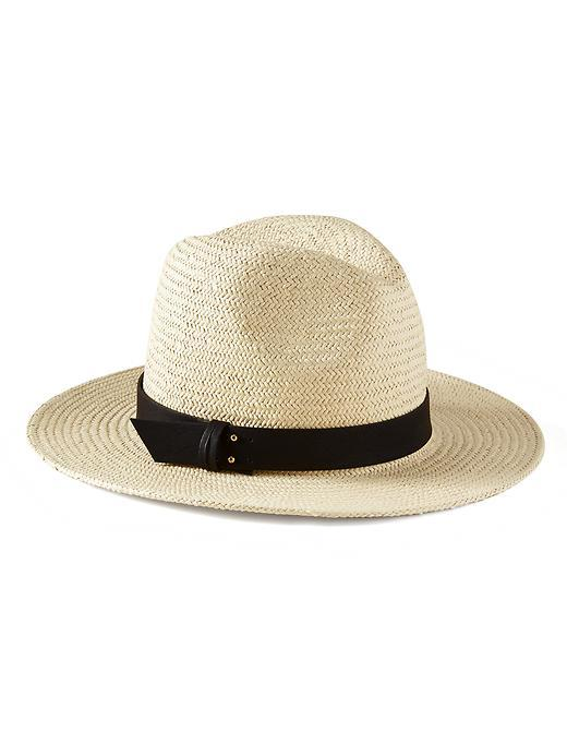 Rivet Straw Hat Natural - predominant colour: ivory/cream; secondary colour: black; occasions: casual, holiday; type of pattern: standard; style: panama; size: standard; material: macrame/raffia/straw; pattern: plain; season: s/s 2016