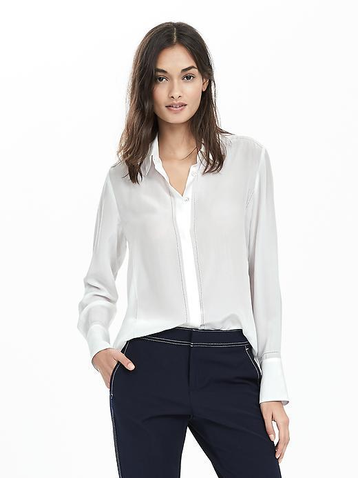 Embroidered Stitch Blouse White - neckline: shirt collar/peter pan/zip with opening; pattern: plain; style: shirt; predominant colour: white; occasions: work; length: standard; fibres: silk - 100%; fit: body skimming; sleeve length: long sleeve; sleeve style: standard; pattern type: fabric; texture group: other - light to midweight; embellishment: embroidered; season: s/s 2016; wardrobe: highlight