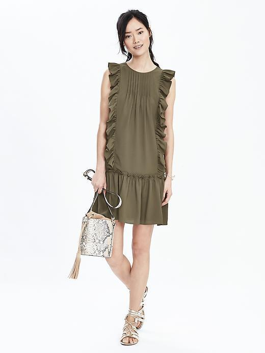 Ruffle Flounce Dress Tigers Eye Green - style: shift; length: mid thigh; pattern: plain; sleeve style: sleeveless; predominant colour: khaki; occasions: evening; fit: body skimming; fibres: polyester/polyamide - 100%; neckline: crew; sleeve length: sleeveless; bust detail: tiers/frills/bulky drapes/pleats; hip detail: ruffles/tiers/tie detail at hip; pattern type: fabric; texture group: jersey - stretchy/drapey; season: s/s 2016; wardrobe: event