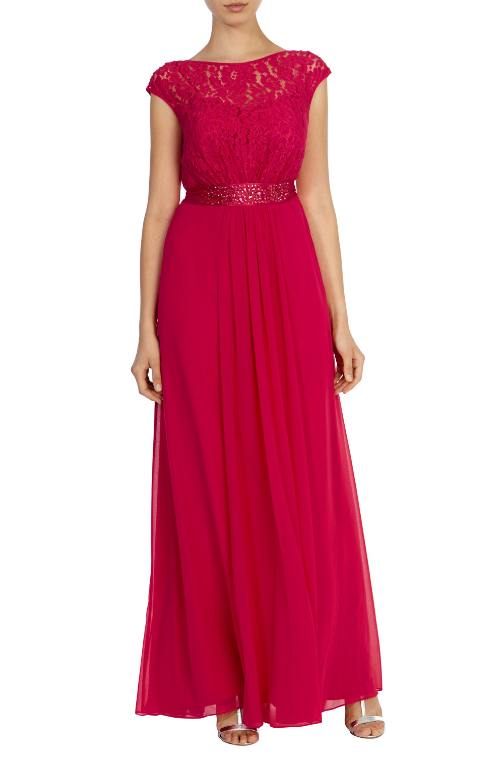 Lori Lee Lace Maxi Dress Sl - sleeve style: capped; pattern: plain; style: maxi dress; bust detail: sheer at bust; predominant colour: true red; occasions: evening; length: floor length; fit: body skimming; fibres: polyester/polyamide - 100%; neckline: crew; sleeve length: short sleeve; pattern type: fabric; texture group: jersey - stretchy/drapey; embellishment: lace; season: s/s 2016; wardrobe: event