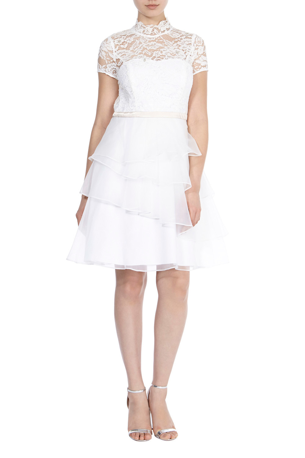Selby Lace Short Dress - pattern: plain; style: prom dress; neckline: high neck; bust detail: sheer at bust; predominant colour: white; occasions: evening; length: just above the knee; fit: fitted at waist & bust; fibres: polyester/polyamide - 100%; hip detail: adds bulk at the hips; sleeve length: short sleeve; sleeve style: standard; texture group: lace; pattern type: fabric; embellishment: lace; season: s/s 2016; wardrobe: event