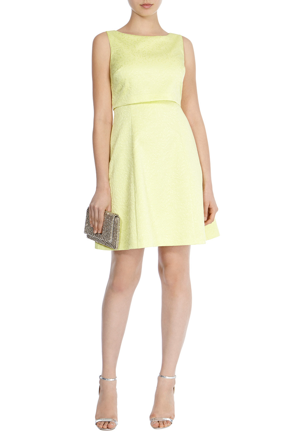 Betsie Lou Jacquard Dress - fit: fitted at waist; pattern: plain; sleeve style: sleeveless; predominant colour: primrose yellow; length: just above the knee; style: fit & flare; fibres: polyester/polyamide - stretch; occasions: occasion; neckline: crew; sleeve length: sleeveless; pattern type: fabric; texture group: brocade/jacquard; season: s/s 2016; wardrobe: event