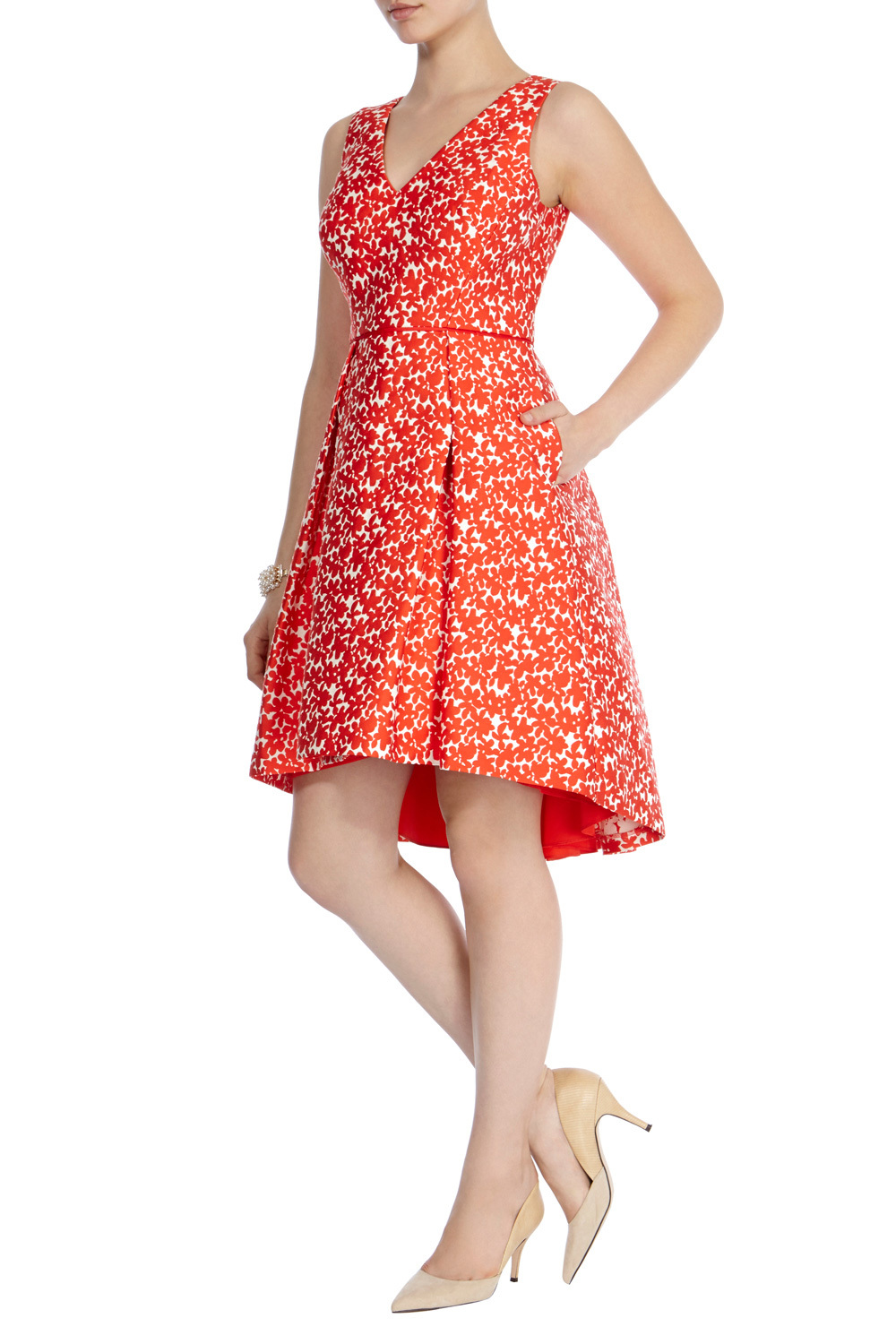 Jariney Jacquard Dress - neckline: v-neck; sleeve style: sleeveless; predominant colour: bright orange; occasions: evening, occasion; length: on the knee; fit: fitted at waist & bust; style: fit & flare; fibres: cotton - mix; sleeve length: sleeveless; pattern type: fabric; pattern size: standard; pattern: florals; texture group: brocade/jacquard; season: s/s 2016; wardrobe: event