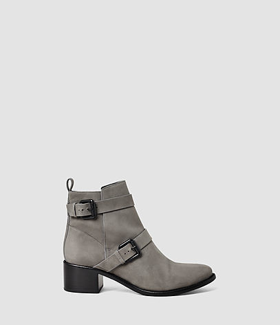Flynn Boot - predominant colour: light grey; occasions: casual, creative work; material: leather; heel height: mid; embellishment: buckles; heel: block; toe: round toe; boot length: ankle boot; style: biker boot; finish: plain; pattern: plain; season: s/s 2016; wardrobe: basic