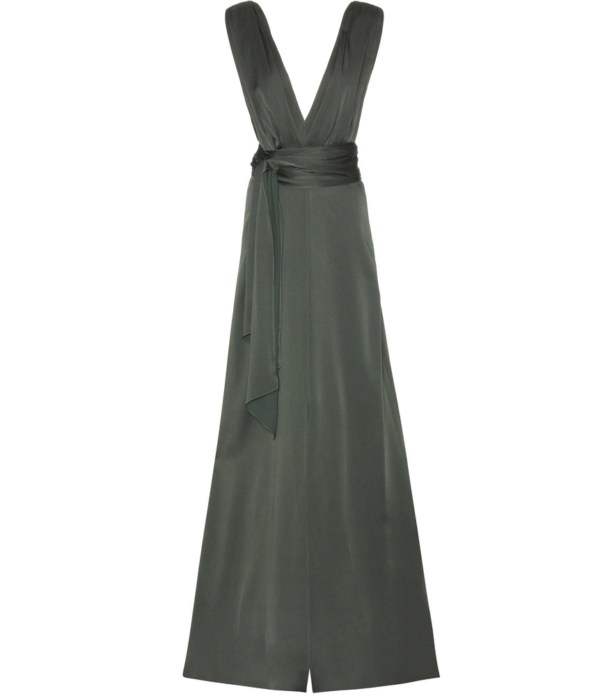 Satin Gown - style: ballgown; neckline: low v-neck; pattern: plain; sleeve style: sleeveless; waist detail: belted waist/tie at waist/drawstring; predominant colour: khaki; occasions: evening, occasion; length: floor length; fit: body skimming; sleeve length: sleeveless; texture group: structured shiny - satin/tafetta/silk etc.; pattern type: fabric; fibres: viscose/rayon - mix; season: s/s 2016; wardrobe: event