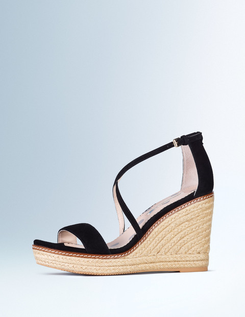 Helen Wedge Black Women, Black - secondary colour: stone; predominant colour: black; occasions: casual, holiday; material: suede; ankle detail: ankle strap; heel: wedge; toe: open toe/peeptoe; style: strappy; finish: plain; pattern: colourblock; heel height: very high; shoe detail: platform; season: s/s 2016; wardrobe: highlight