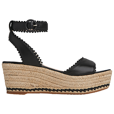 Valen Flatform Sandals, Black - secondary colour: stone; predominant colour: black; occasions: casual, holiday; material: leather; heel height: high; ankle detail: ankle strap; heel: wedge; toe: open toe/peeptoe; style: standard; finish: plain; pattern: plain; shoe detail: platform; season: s/s 2016; wardrobe: investment
