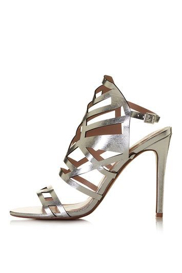 Mollie Laser Cut Sandals - predominant colour: silver; occasions: evening, occasion; heel height: high; ankle detail: ankle strap; heel: stiletto; toe: open toe/peeptoe; style: strappy; finish: plain; pattern: plain; material: faux suede; trends: glossy girl, metallics; season: s/s 2016; wardrobe: event