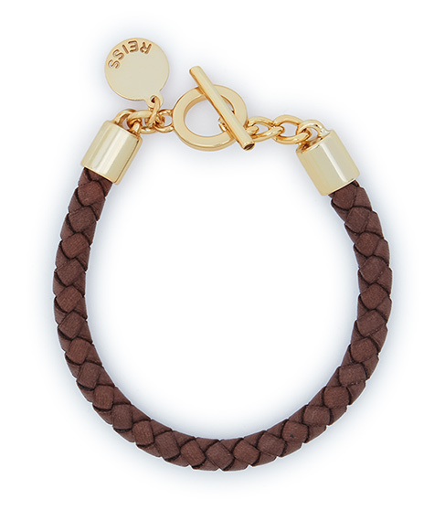 Barbet Leather Bracelet - predominant colour: tan; secondary colour: gold; occasions: casual, creative work; style: friendship/tie; size: standard; material: leather; finish: plain; season: s/s 2016; wardrobe: highlight