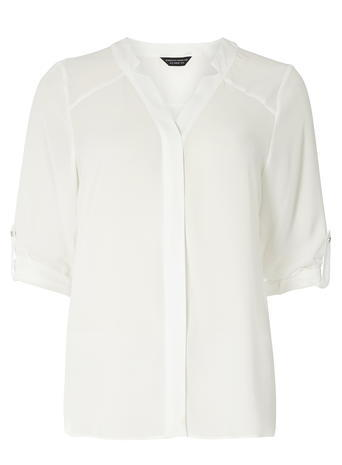 Womens Ivory 'notch Neck' Shirt White - neckline: v-neck; pattern: plain; style: shirt; predominant colour: white; occasions: work; length: standard; fibres: polyester/polyamide - 100%; fit: body skimming; sleeve length: half sleeve; sleeve style: standard; texture group: sheer fabrics/chiffon/organza etc.; pattern type: fabric; season: s/s 2016; wardrobe: basic