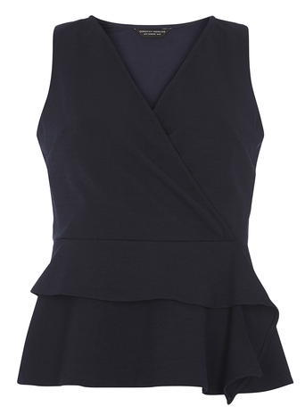 Womens Navy Peplum Top Blue - neckline: v-neck; pattern: plain; sleeve style: sleeveless; style: wrap/faux wrap; waist detail: peplum waist detail; predominant colour: navy; occasions: evening; length: standard; fibres: polyester/polyamide - stretch; fit: body skimming; sleeve length: sleeveless; pattern type: fabric; texture group: jersey - stretchy/drapey; season: s/s 2016; wardrobe: event