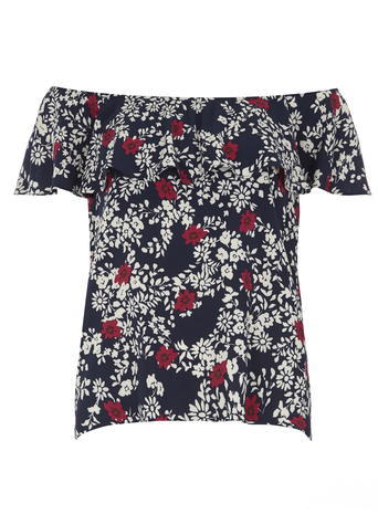 Womens Navy Floral Cold Shoulder Top Blue - neckline: off the shoulder; secondary colour: white; predominant colour: navy; occasions: casual; length: standard; style: top; fibres: viscose/rayon - 100%; fit: body skimming; sleeve length: short sleeve; sleeve style: standard; pattern type: fabric; pattern size: standard; pattern: florals; texture group: other - light to midweight; season: s/s 2016; wardrobe: highlight