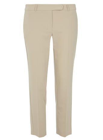 Womens Stone Ankle Grazer Trousers White - pattern: plain; waist: mid/regular rise; predominant colour: stone; occasions: casual, creative work; length: ankle length; fibres: polyester/polyamide - mix; fit: slim leg; pattern type: fabric; texture group: woven light midweight; style: standard; season: s/s 2016