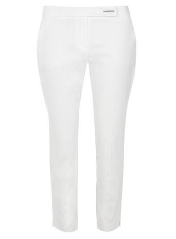 Womens White Cotton Cropped Trousers White - pattern: plain; style: capri; waist: mid/regular rise; predominant colour: white; occasions: casual, holiday; length: calf length; fibres: cotton - stretch; texture group: cotton feel fabrics; fit: slim leg; pattern type: fabric; season: s/s 2016; wardrobe: basic
