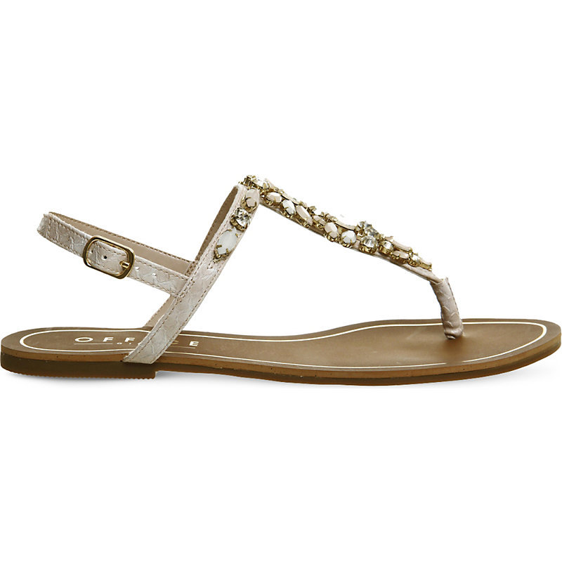 Blair Embellished Flat Sandals, Women's, Nude Snake Embossed - predominant colour: stone; secondary colour: gold; occasions: casual, holiday; material: faux leather; heel height: flat; embellishment: jewels/stone; heel: block; toe: toe thongs; style: strappy; finish: plain; pattern: plain; season: s/s 2016