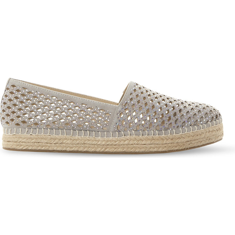 Prettty Laser Cut Espadrilles, Women's, Eur 41 / 8 Uk Women, Grey Synthetic - predominant colour: light grey; occasions: casual, holiday; material: faux leather; heel height: flat; toe: round toe; finish: plain; pattern: plain; style: espadrilles; season: s/s 2016; wardrobe: highlight