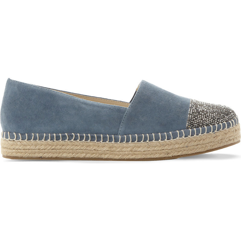 Pulsee Suede Rhinestone Embellished Espadrilles, Women's, Eur 41 / 8 Uk Women, Blue Suede - predominant colour: denim; secondary colour: gold; occasions: casual; material: suede; heel height: flat; embellishment: crystals/glass; toe: round toe; finish: plain; pattern: plain; style: espadrilles; season: s/s 2016; wardrobe: highlight
